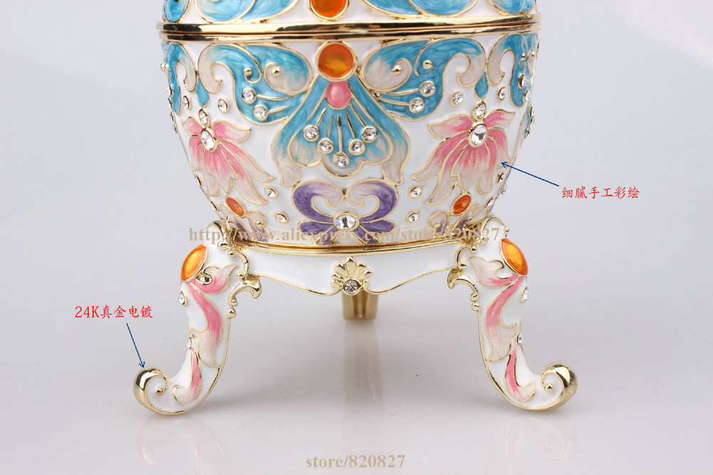 Faberge Egg Trinket Jewelry Box with a Pearl on Top for Sale Estee Egg Treasures Egg Trinket Holder