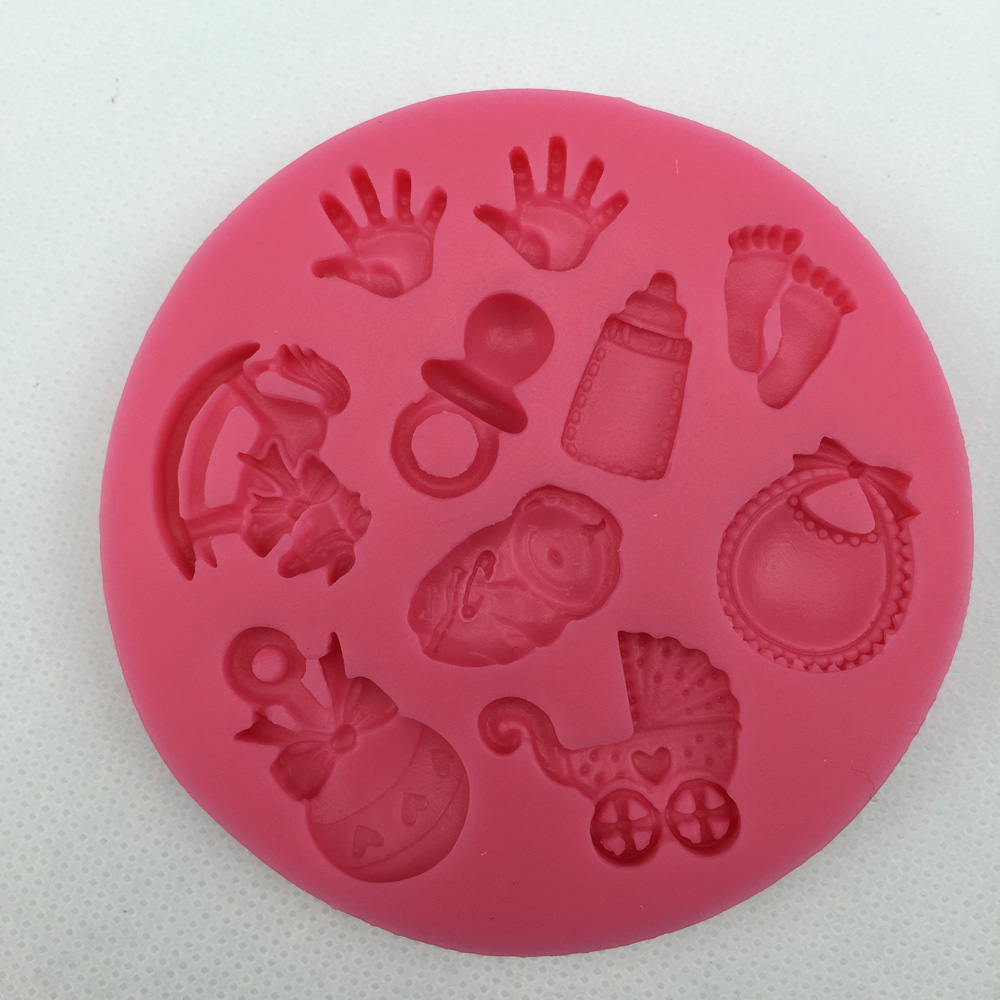 Baby Shower Party stroller hand bottle Trojan silicone mold soap, chocolate fondant cake decoration baking kitchen tool F0300(China (Mainland))