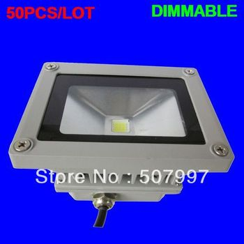 50PCS/LOT LED dimmable floodlight 10W 220V 900Lm IP65 outdoor advertise lighting lamp dimming Waterproof Wholesale BILLIONS-LAMP