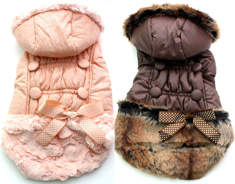 Dog Cat Winter warm Coat Jacket Pet Puppy Hoody clothes bow&buttons disign,,5 sizes available(China (Mainland))