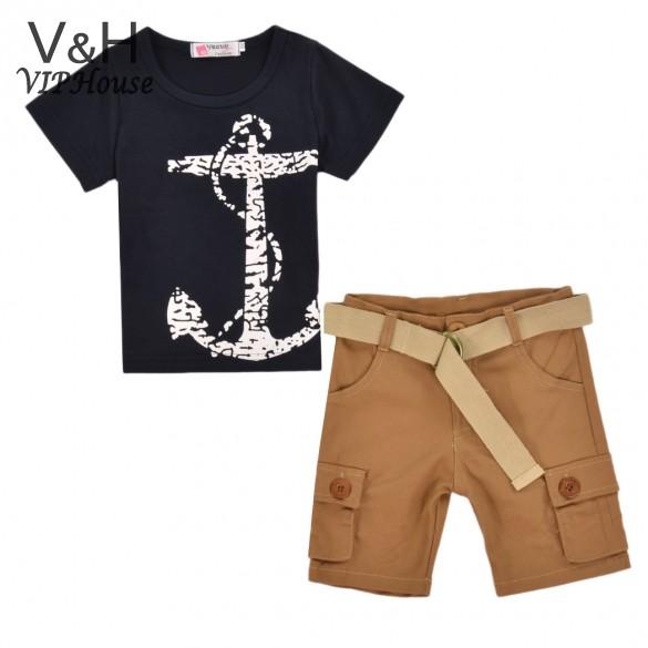 Hot Sale ! 2015 Summer Baby Boy Clothes Fashion Anchor Print Short Sleeve T-shirt and Solid Shorts Clothing Set 3-7Y(China (Mainland))