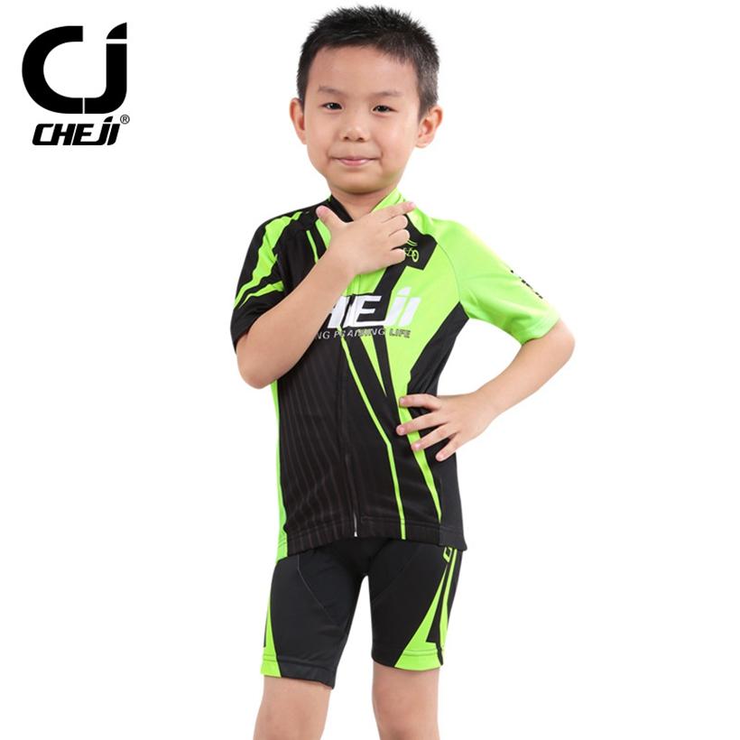 CHEJI Fashion Wheel Boys Girsl Children Cycling Jersey Bike Short Sleeve Clothing Bicycle Kids Child Jersey Shorts(China (Mainland))