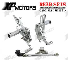 Silver CNC Rearset Adjustable Foot pegs Rear Sets Fit Aprilia Tuono1000 V4 R APRC 2011 2012 2013 2014 - Billy Huangy's store