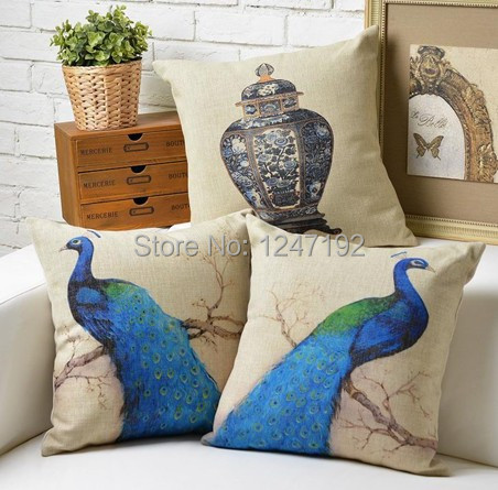 elegant peacock pattern ikea style cushion cover sofa pillow covers pillow cases for sofa car household decor(China (Mainland))