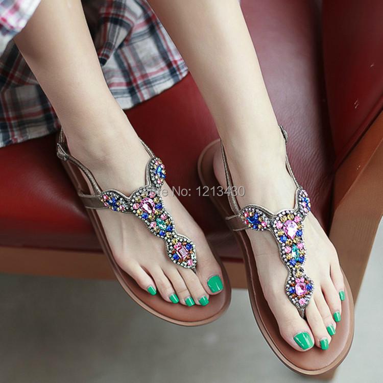 2015 new arrival fashion women's diamond flat flip flops sandals casual women's bohemian shoes free shipping(China (Mainland))
