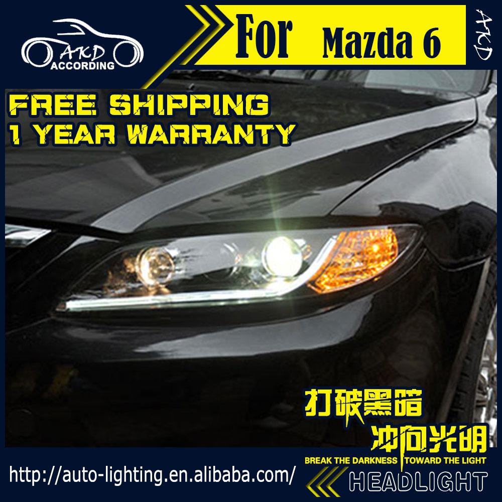 Car Styling Head Lamp for Mazda 6 Headlights 2004-2013 Mazda6 LED Headlight DRL Daytime Running Light Bi-Xenon HID Accessories(China (Mainland))