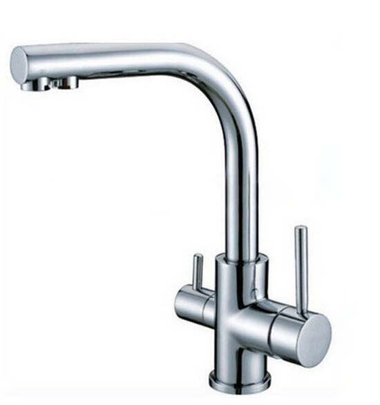 Solid Brass Contemporary Chrome Kitchen Sink Faucet Dual Handles Pure Water Faucet(China (Mainland))