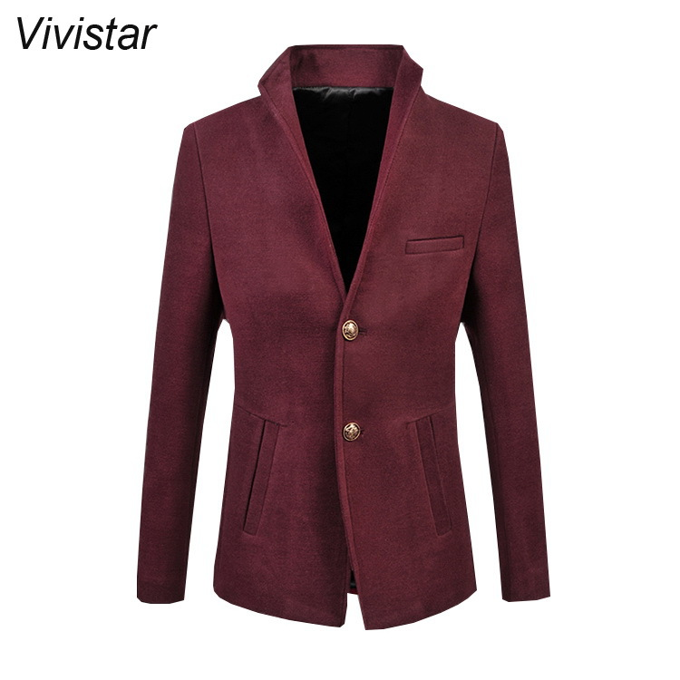 Dark Blue &amp; Wine Red Suit Jackets 2015 Autumn New Arrival Two Button Single Breasted Stand Collar Casual Suit Jackets F1118Одежда и ак�е��уары<br><br><br>Aliexpress