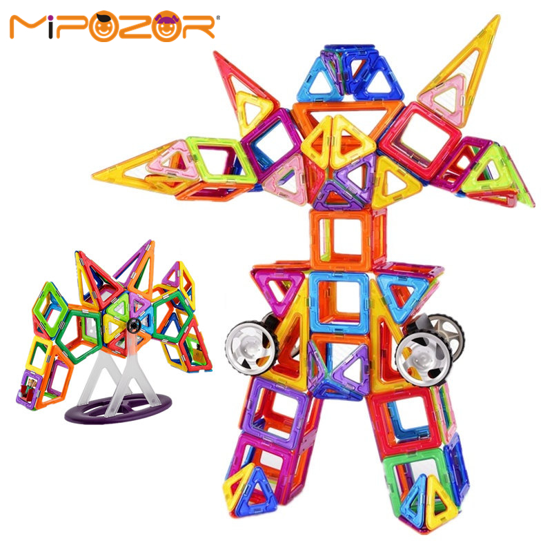 MIPOZOR 180Pcs Magnetic Designer Model Building Kits 3D Blocks Kids Educational Toys Transformers Series DIY Robot Gundam bricks(China (Mainland))
