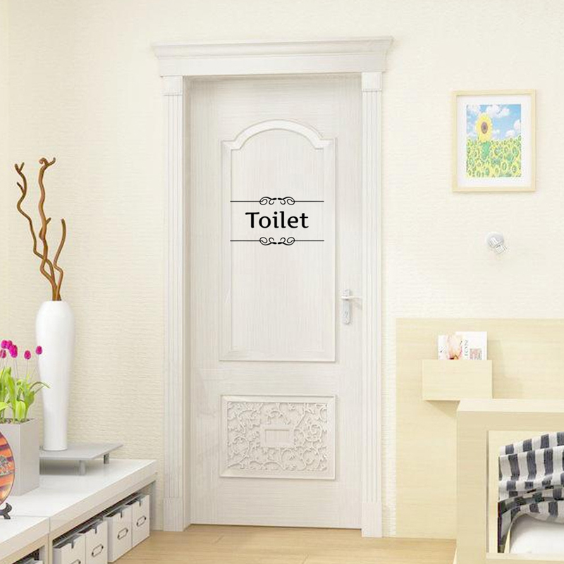 Wall Sticker Bathroom Decor Toilet Door Sticker Vinyl Wall Decal Decoration Quotes Wall Stickers Cafe Toilet Sign For Resturant(China (Mainland))