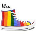 High Top Rainbow Sneakers Original Design Hand Painted Canvas Shoes Men Women Gifts Girl Boy Hand
