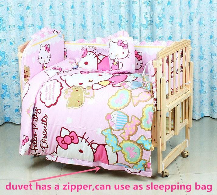 Promotion! 10PCS Hello Kitty 100% Cotton Kid Baby Children Bedding Set Baby Product Infant Cartoon (bumper+matress+pillow+duvet)<br><br>Aliexpress