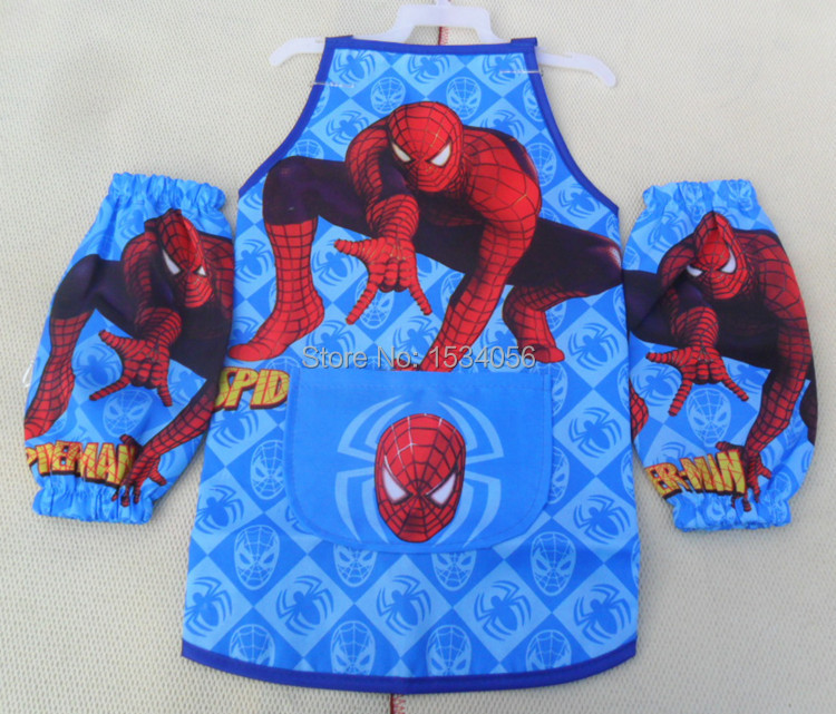 Spider-man Apron Kids Childrens Cartoon Cooking Art Painting Smock Spiderman waterproof 2Pcs Set Sleeveless Aprons +Oversleeves(China (Mainland))