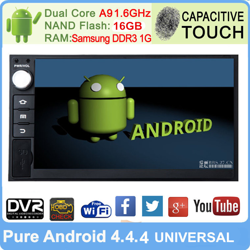 7'' Android 4.4 Double 2 Din 3G/Wifi GPS Car DVD Player In-dash Stereo Bluetooth CAPACTIVE Touch Radio USB SD HD 1024*600 16GB(China (Mainland))
