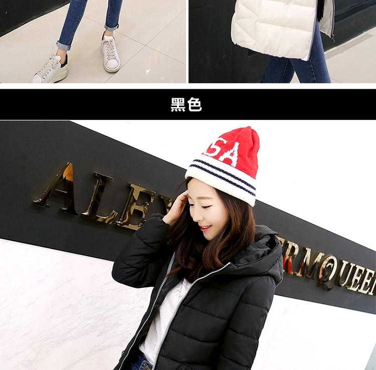 2016 new coat winter women's fashion long hooded cotton Slim thin cotton jacket Korean temperament Windbreaker