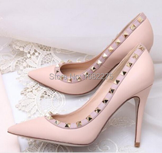 2015 Hot Women New Pumps Lady Genuine Leather Rivets Pointed Toe Thin High Heels Princess OL/Wedding Shoes - high heels and retail store