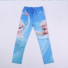 Cartoon Elsa Girls Leggings 2015 Cotton Snow Queen Baby Kids Leggings Autumn Girl Legging Children Trousers