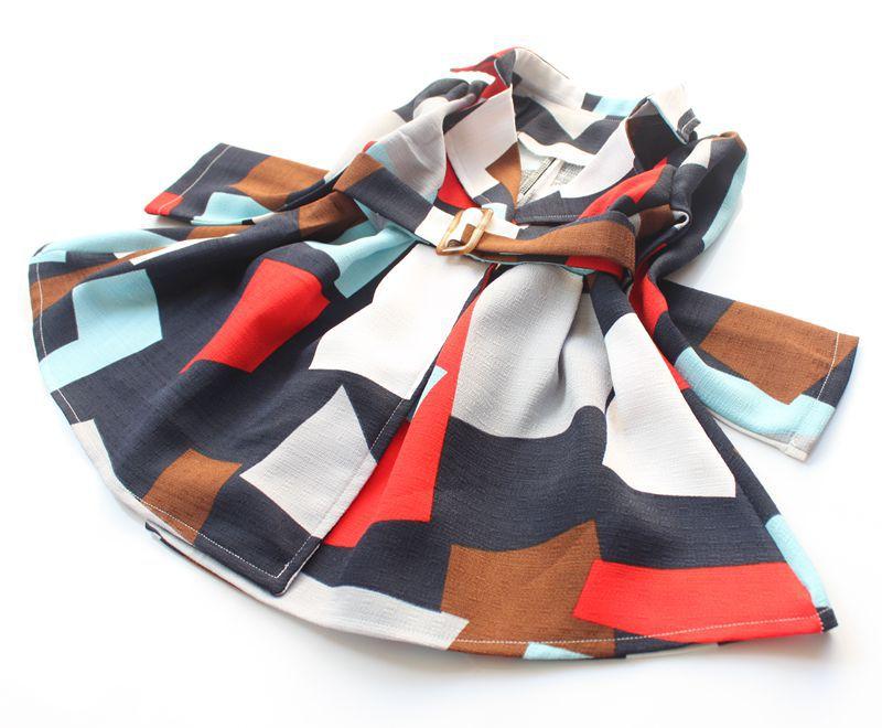 Скидки на Девушки моды пальто 2016 осень/зима новый девушки геометрические букет талии длинные пальто девушки удобные теплые пальто