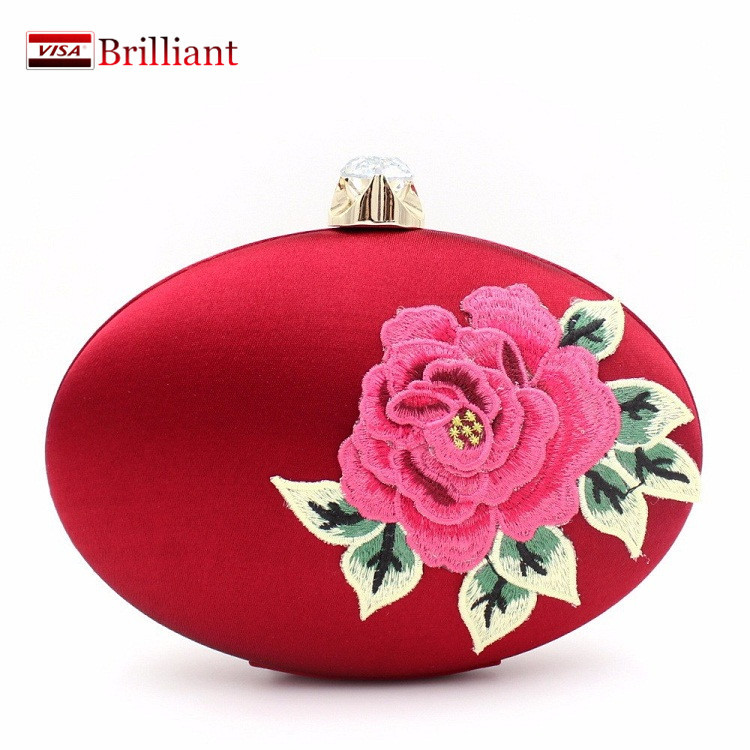 Embroidery peony flower clutch evening bag Oval Diamond Hard Case Satin Chain cheongsam formal dress Shoulder Bags red CC8(China (Mainland))