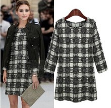 Plaid vintage dress 2015 autumn - winter long-sleeve O-neck dresses L XL XXL XXXL 4XL 5XL plus size women clothing(China (Mainland))