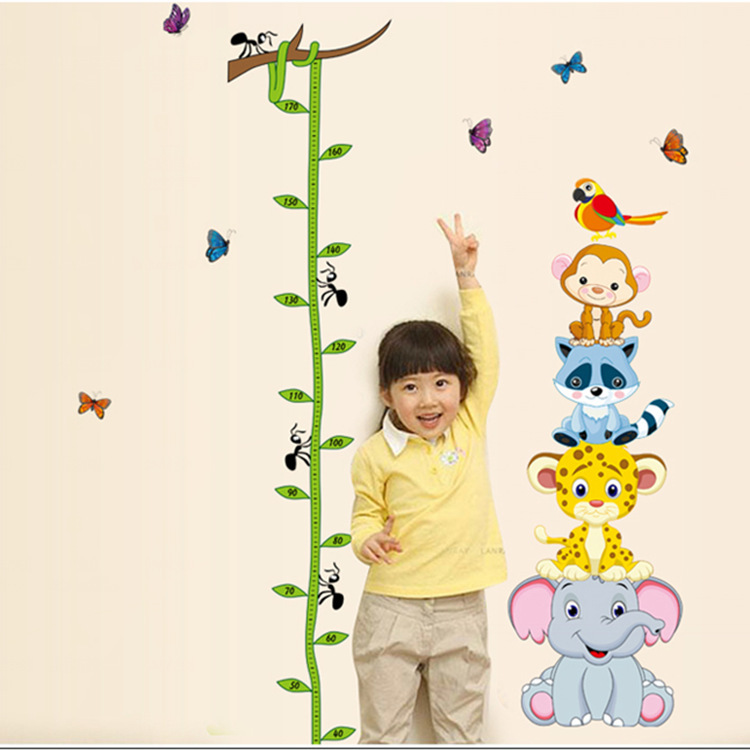 Best sale cartoon height sticker stadiometer wall stickers for kids rooms growth ruler chart kids wall stickers height ruler(China (Mainland))