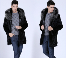 2015 New Winter Plus Size Men Large Faux Fox Fur Collar Ultra Long Fake Mink Fur Outerwear Coats Male(China (Mainland))