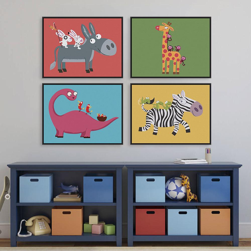 Funny Animal Zebra Dinosaur Giraffe A4 Large Art Print Poster Kawaii Wall Picture Canvas Painting No Framed Kids Room Home Decor(China (Mainland))