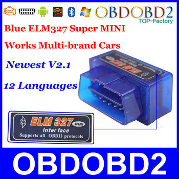 SUPER MINI ELM327 Bluetooth OBD2 Interface V2.1 Support All OBDII Protocol With Android Torque Multi-Language CNP Free