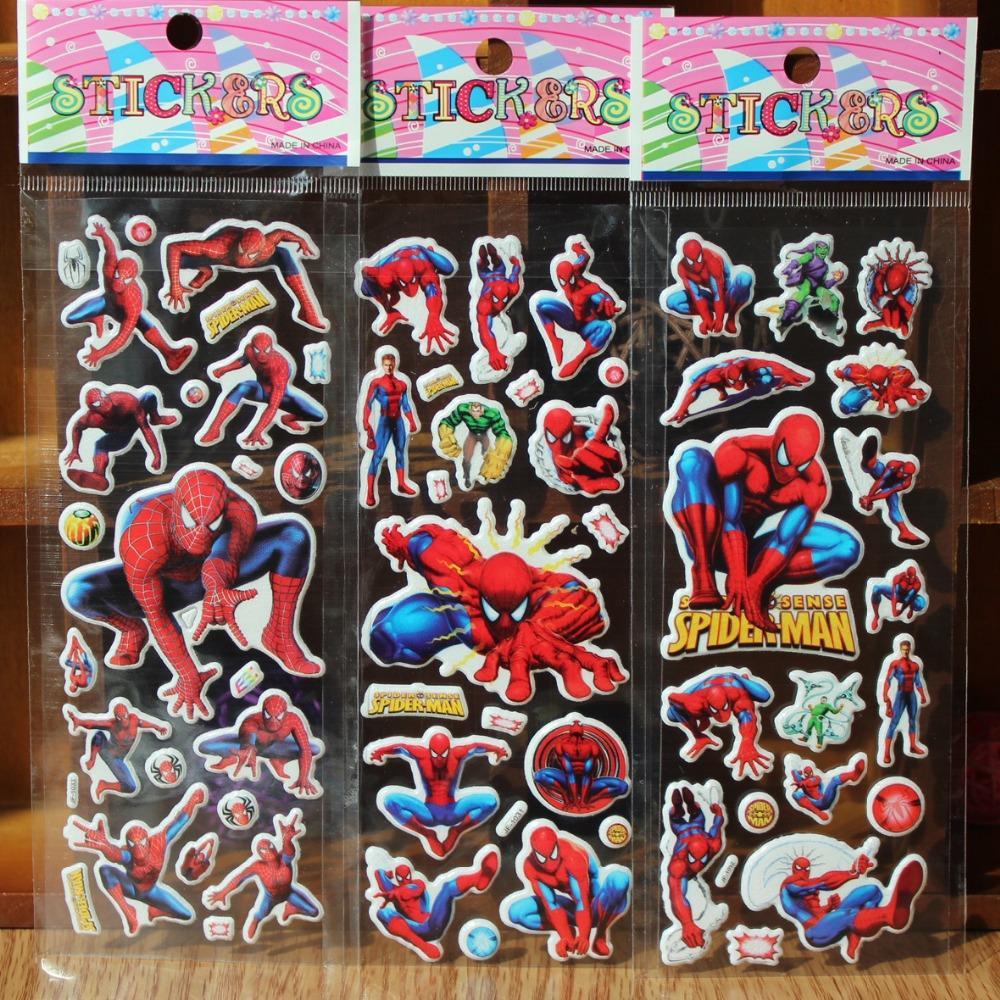 reward stickers 10PCS / lot Mixed cartoon bubble wall stickers Spiderman 3D toys / children's cartoon bubble stickers decoration(China (Mainland))