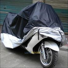 LS4G Black and Silver Waterproof Dust Rain Sun Prevent Bask Motorcycle Cover M