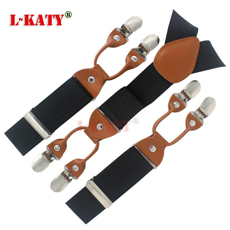 Solid Black Men's trousers strap men's strap sling clip suspenders men elderly man elastic straps fat Business 115*3.5cm MBD8640(China (Mainland))