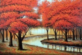 100% hand painted Oil Painting Abstract Red Tree Forest River Modern Art Decor decoration free shipping High quality