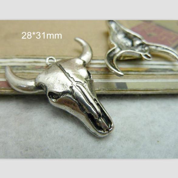 Bull Head Charm Bull Pendant Tibetan Silver 28*31mm Cow Cattle Ox Bull Taurus Necklace Bracelet Men Jewelry Supply - 30 pcs(China (Mainland))