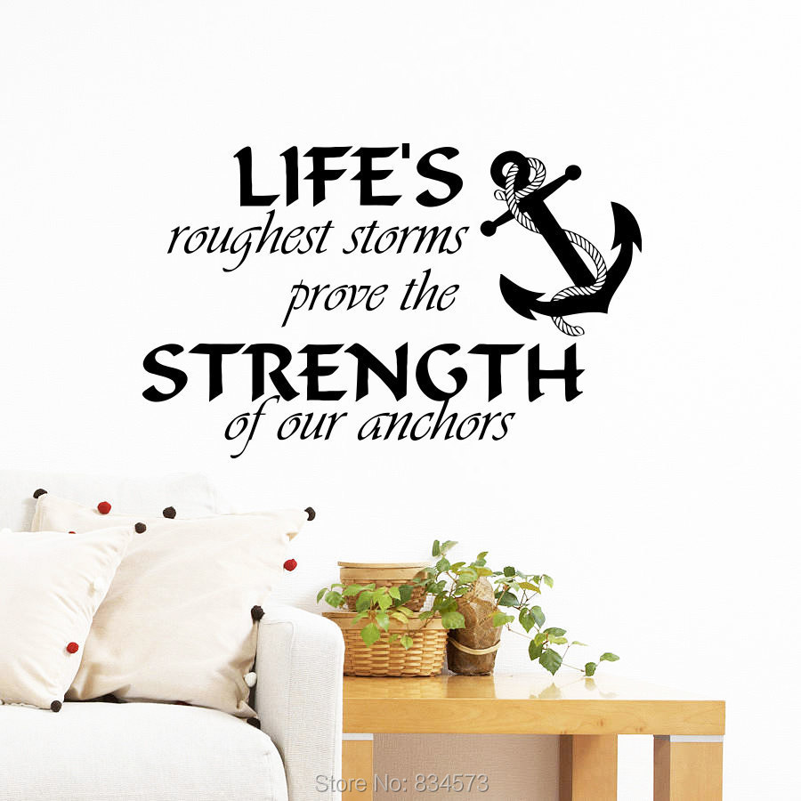 Nautical anchor symbol quote wall art sticker decal home for Decoration quotes