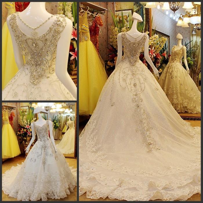 Luxury Austria Diamond Bride Wedding Dress Sexy Floor Length Crystal Lace Up Close Bridal Wedding Gown US(China (Mainland))