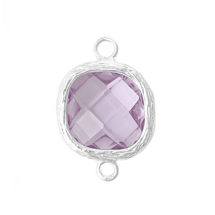 Copper Connectors Finding June Birthstone Alexandrite Square Bright Silver Mauve Cubic Zirconia Faceted 19x13mm,5PC Mr.Jewelry(China (Mainland))