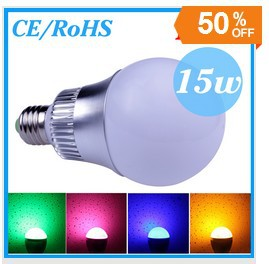 20PCS FedEx 15w E27 RGB LED 16 Changeable Colors Light Lamp Bulb 85-265V with Remote Control free shpping(China (Mainland))