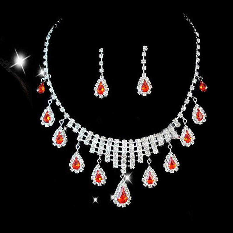 Bride Bridal Necklace Wedding Dress Formal Dress Chain Sets Quality Rhinestone Chain Sets Red