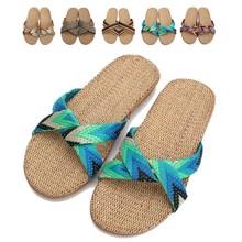 New Design Lover Fashion Summer Sandals Women Men Linen Slippers Breathable Flax Shoe Home House Antiskid Bottom Cool Slipper(China (Mainland))