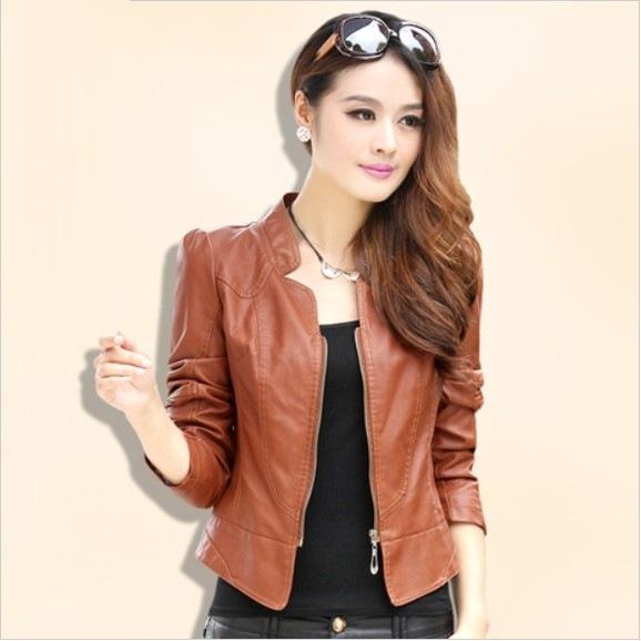 2015 women New Autumn Women Leather Jacket Brown Black PU jacket Zippers Long Sleeve Coat(China (Mainland))