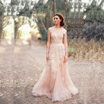 W3170 отвесное V шея кружево аппликация румяна свадьба платья элегантный кепка рукава ...