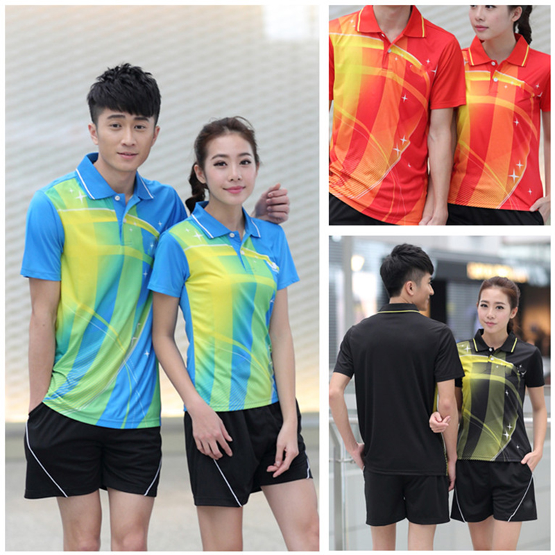 Fashion Colorful Tennis Set (Polo + Shorts) Men And Women Quick Dry Badminton Table Tennis Sportswear BTF11(China (Mainland))