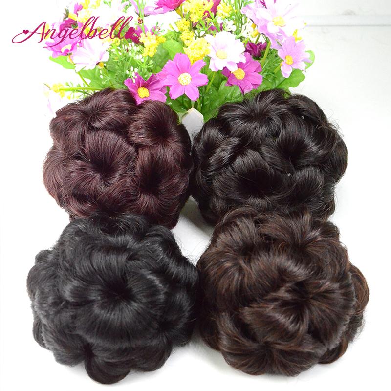 Angelbella Hairpiece Bun Chignon Braid Human Hair Clip In Buns Extension Updo Human Hair Bundles Scrunchie for Women 3PCs/lot