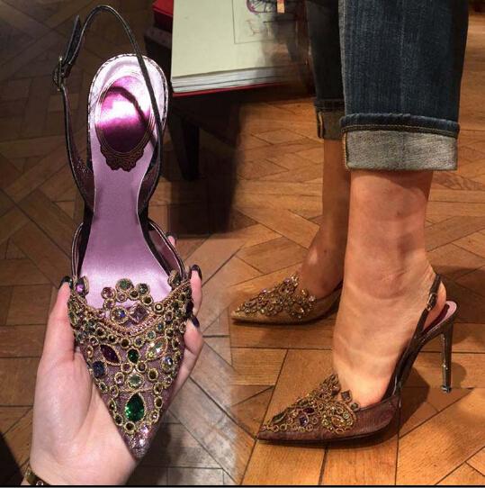 Primavera nueva llegada de la verde menta up-talón del dedo del pie puntiagudo rhinestone sexy sandalias de las señoras zapatos de mujer envío gratis(China (Mainland))