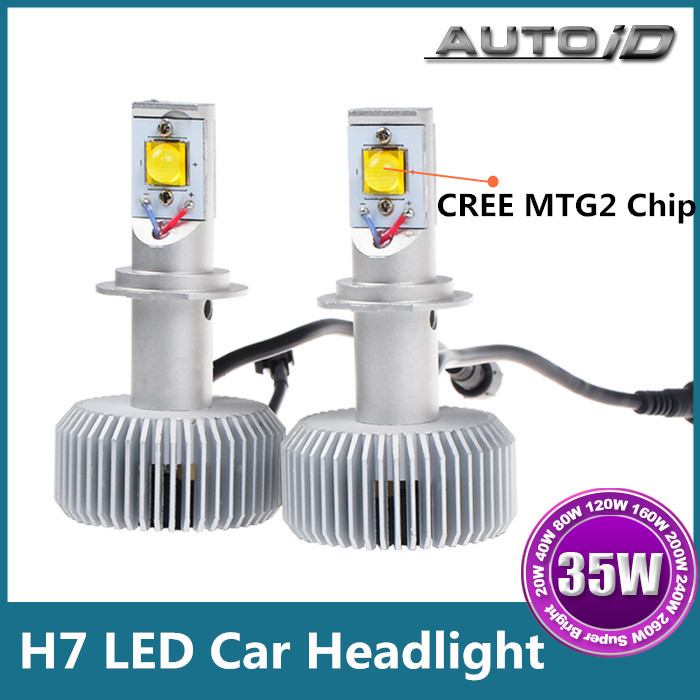 New CREE MTG2 Chip 70W 6000lm 6000K H7 Car LED Headlight DRL LED Auto Headlight