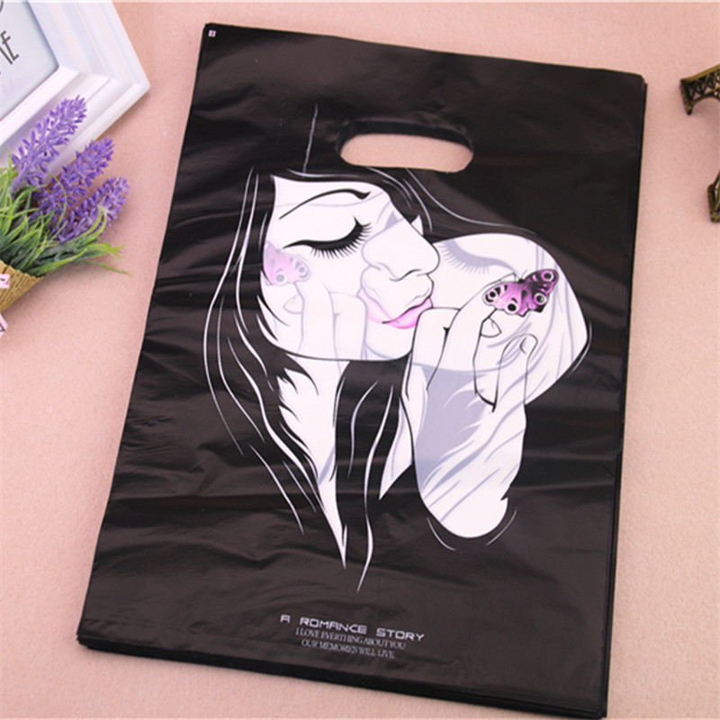 New Design Wholesale 100pcs/lot 25*35cm Luxury Fashion Girl Packaging Bags For Hair Extensions Large Shopping Plastic Bags(China (Mainland))