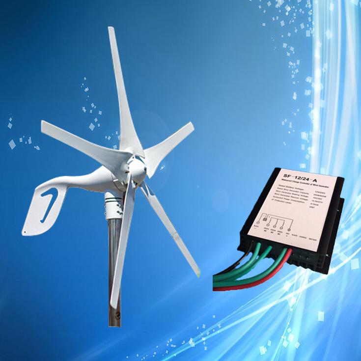 Wholesale 400W 24V Mini Wind Generator; 400W Wind Turbine with 5PCS Blades + Max 600W 12V/24V Auto Distinguish Wind Controller(China (Mainland))
