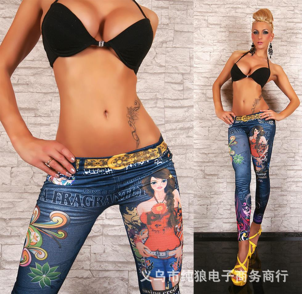 Flower Printed Jeans Printed Imitation Jeans