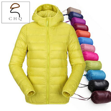 Women ultra lightweight hooded down jacket winter duck down jackets women thin long sleeve parka zip 11 color coat pockets solid