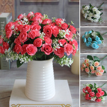 Pretty Charming Reiz 15 Knospen 1 Bouquet Mini Rose Künstliche Seidenblume Dekoration Braut Aufkleber Hause Hochzeitsdekor(China (Mainland))